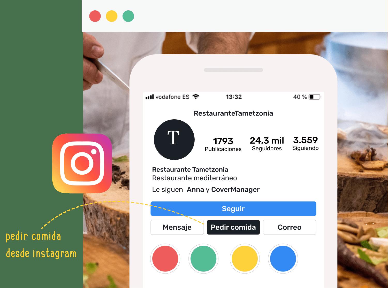 """Ejemplo del botón de """"Pedir Comida"""" en el perfil de Instagram del restaurante Tametzonia."""