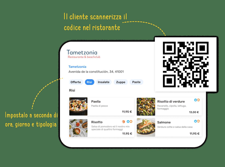 Ejemplo de carta digital del restaurante Tametzonia, la cual puedes configurar según hora, día y tipología. Muestra también un código QR, ya que el cliente podrá acceder a esta carta escaneando un código en el restaurante.