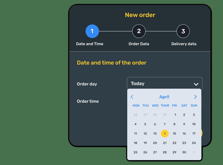 Primer paso a la hora de realizar un nuevo pedido en room service, en el que el huésped debe seleccionar fecha y hora del pedido.