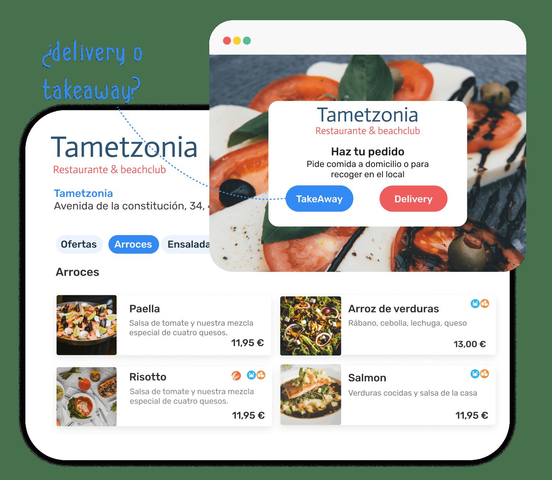 """Ejemplo de ventana de """"Haz tu pedido"""" con el restaurante Tameztonia, ofreciendo take away y delivery, junto a la landing de productos para el cliente."""
