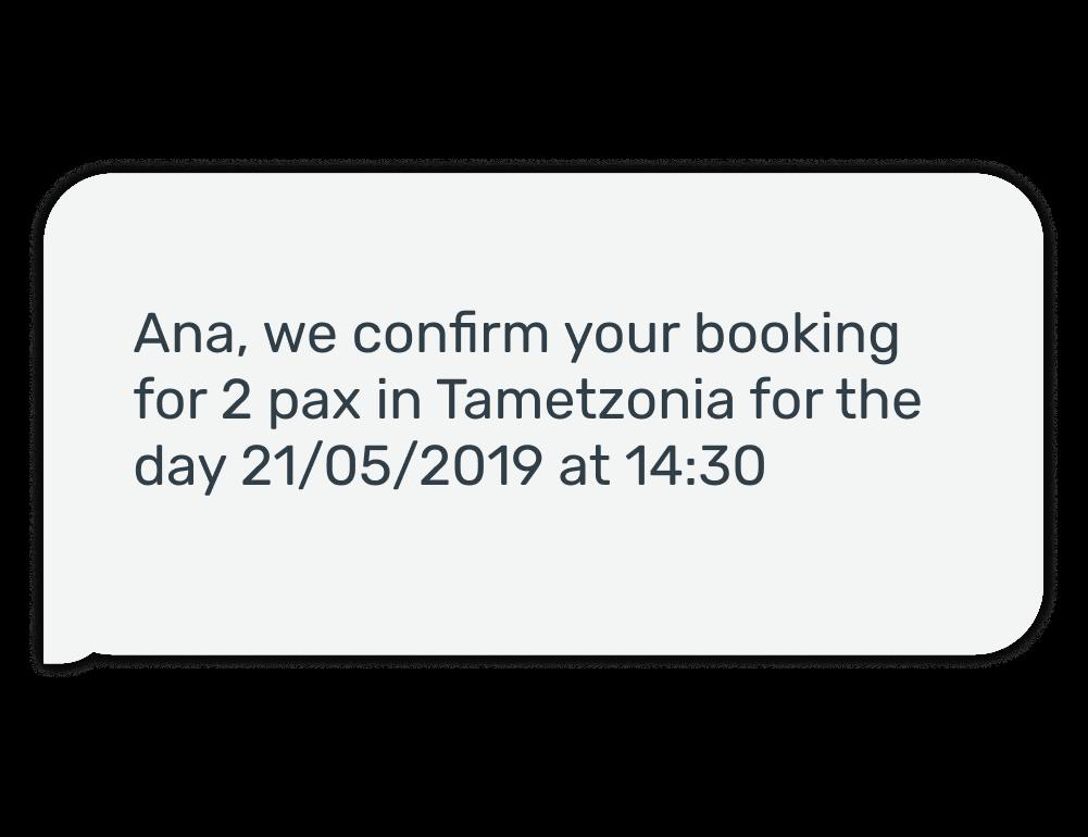 Ejemplo del SMS de confirmación que recibe el cliente al hacer una reserva en el restaurante Tametzonia el día 21 de mayo a las 2 y media para dos personas.