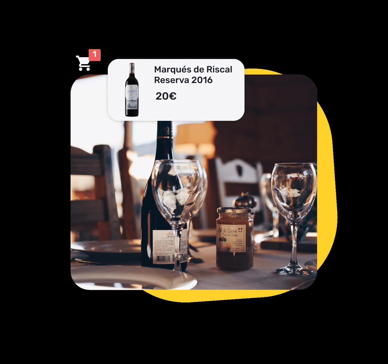 Ejemplo de la página web de un restaurante al añadir a la carta una botella de vino Marqués de Riscal.