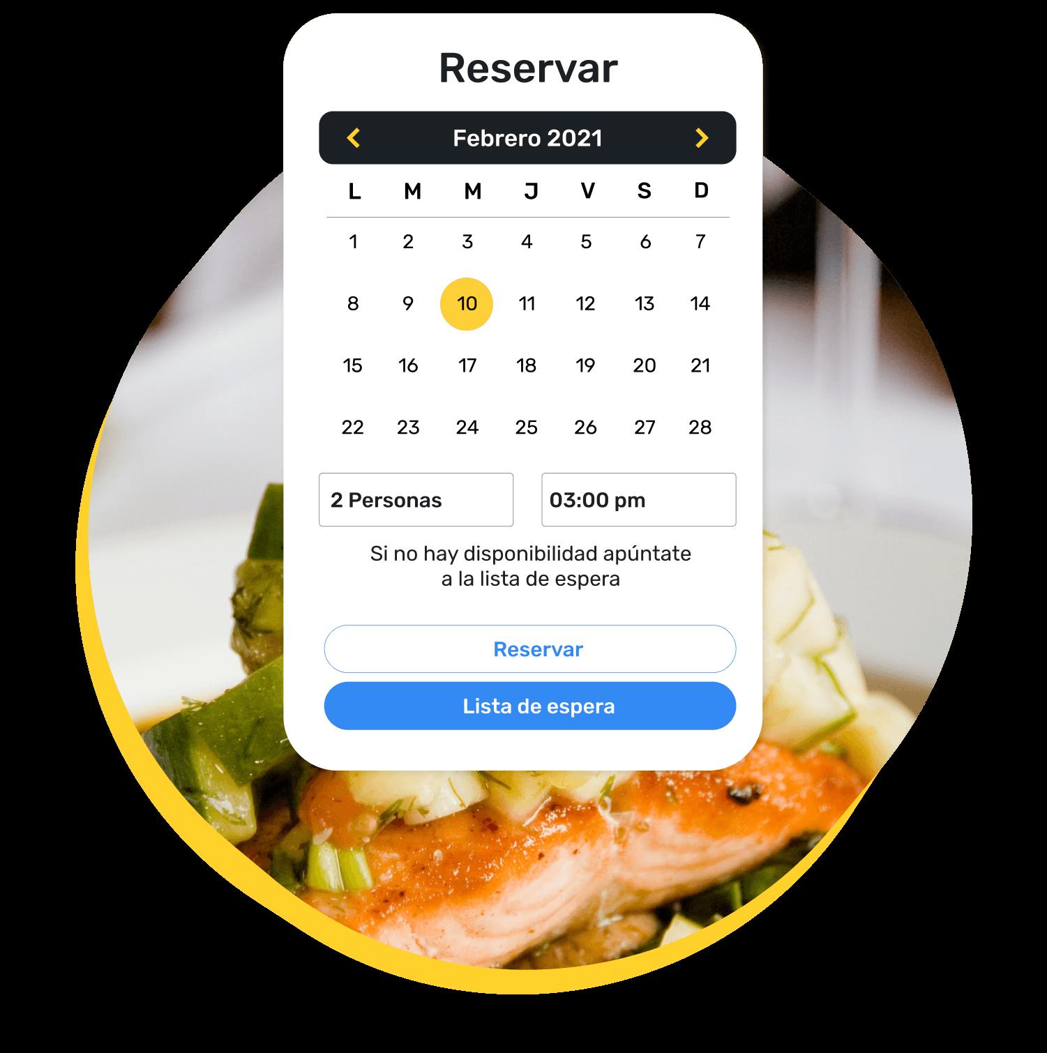 Motor de búsqueda de reservas propio, en el que el sistema informa al cliente de que, si no hay disponibilidad el día y hora que desea, puede apuntarse a la lista de espera.