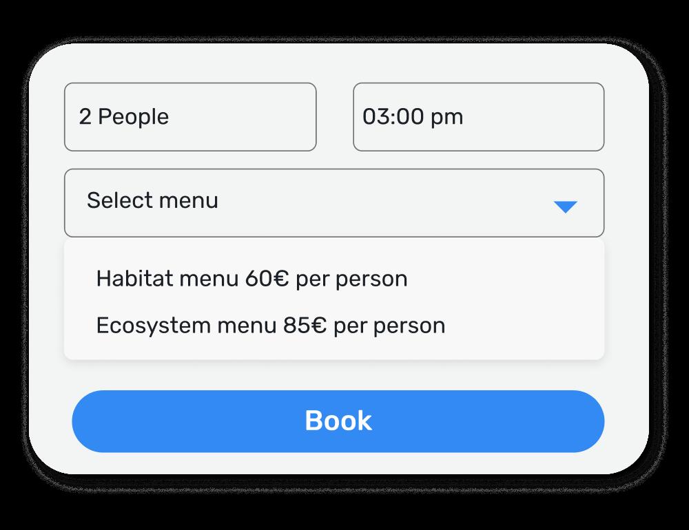 Ejemplo de las categorías seleccionables en un motor de reservas propio, en el que el cliente puede elegir fecha, hora, número de personas y menú a consumir.