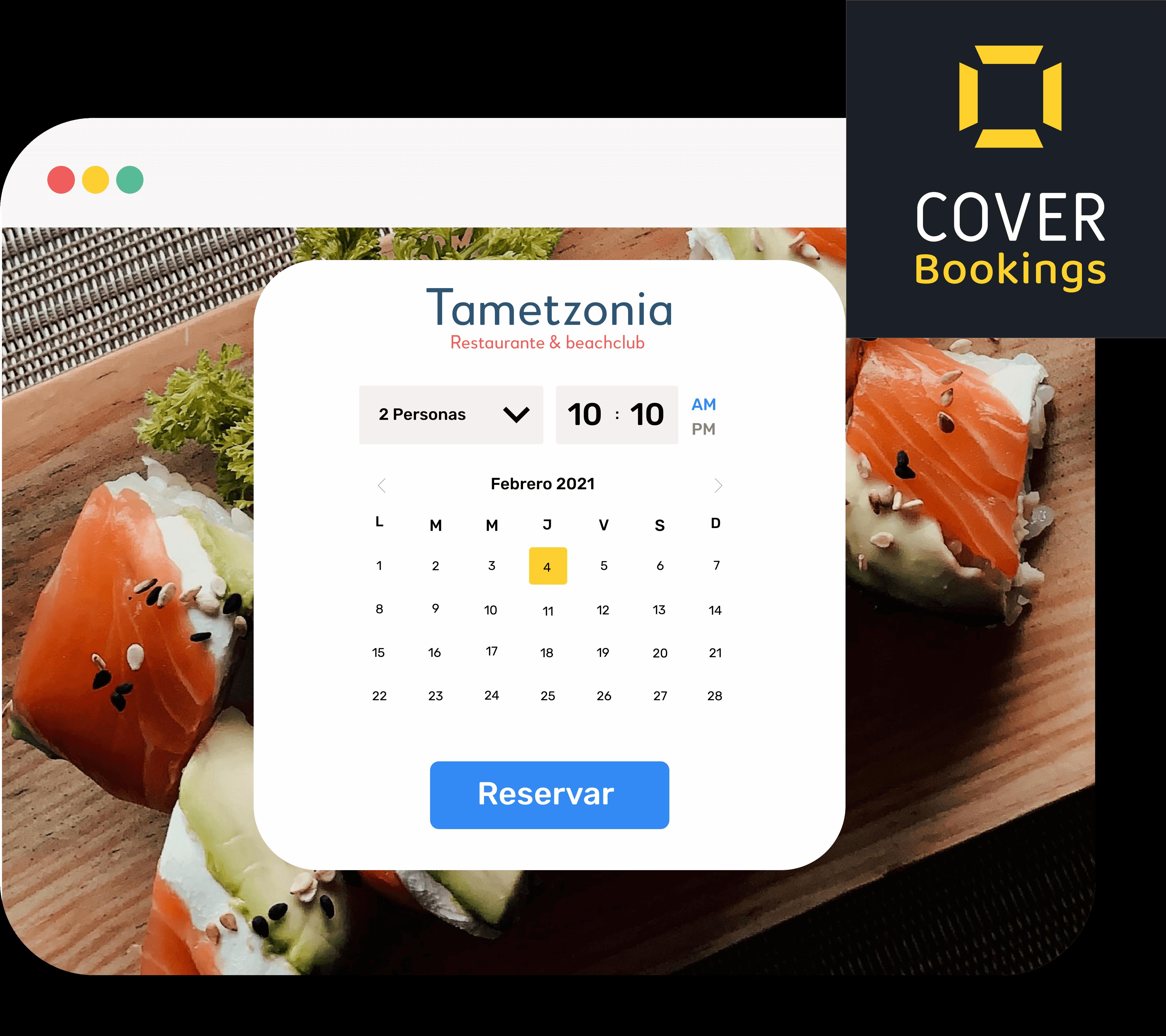 Ejemplo de un motor de reservas en el sitio web del restaurante, es decir en canal propio, donde el cliente puede hacer una reserva indicando fecha, hora y número de comensales.