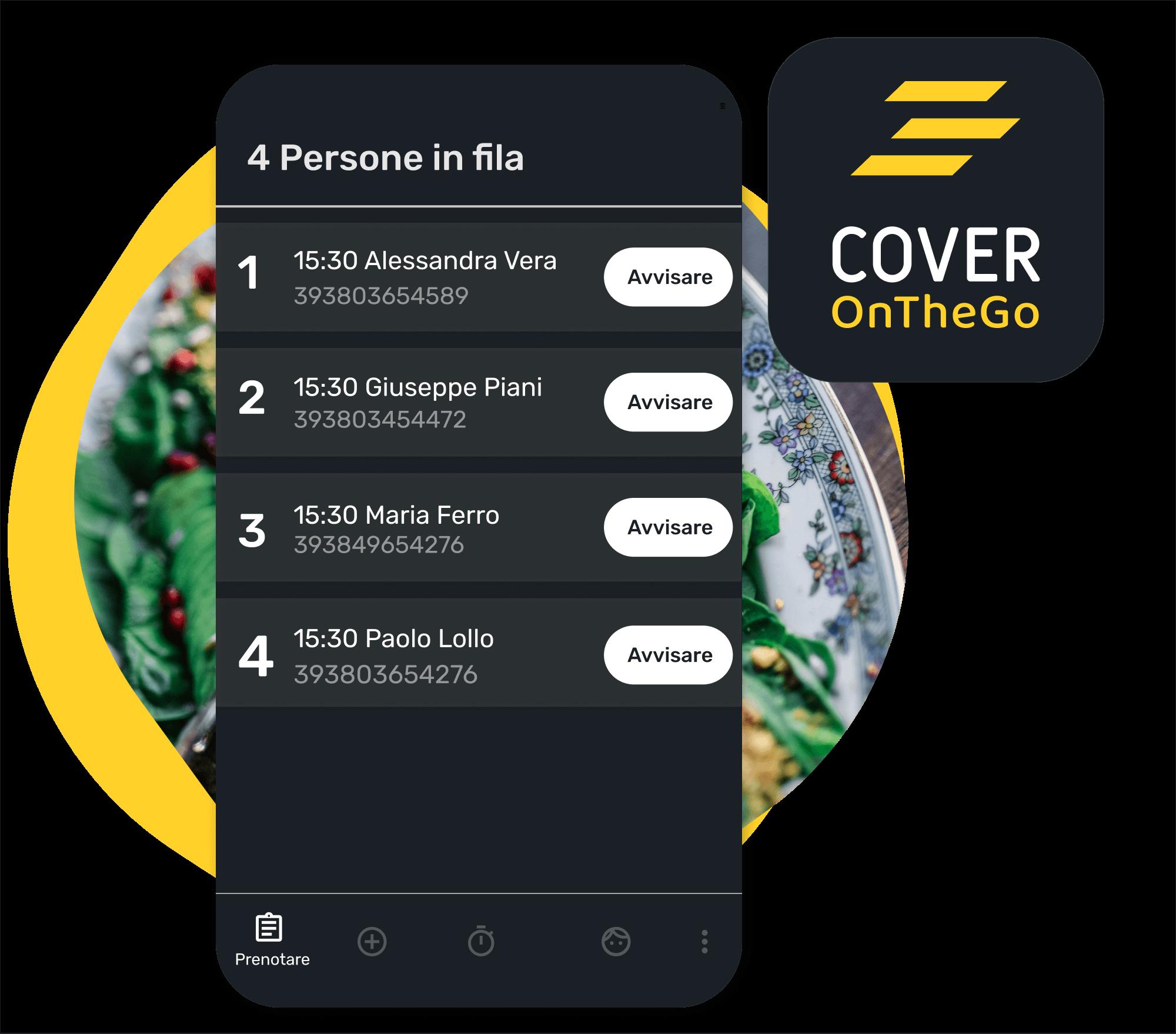 Ejemplo del sistema de gestión de cola en el sistema de CoverOnTheGo, donde podemos ver una lista de espera con datos de contacto de los clientes y la opción de avisar a cada uno de ellos sobre la disponibilidad.