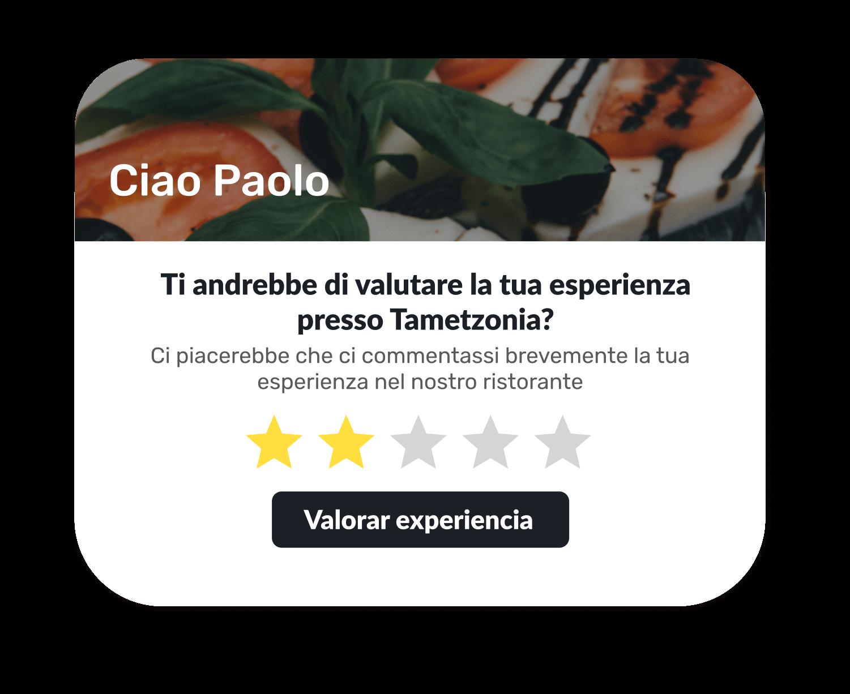 """Vista de una ventana de """"Valora tu experiencia en el restaurante"""" , en la que el cliente podrá dar su opinión mediante estrellas."""