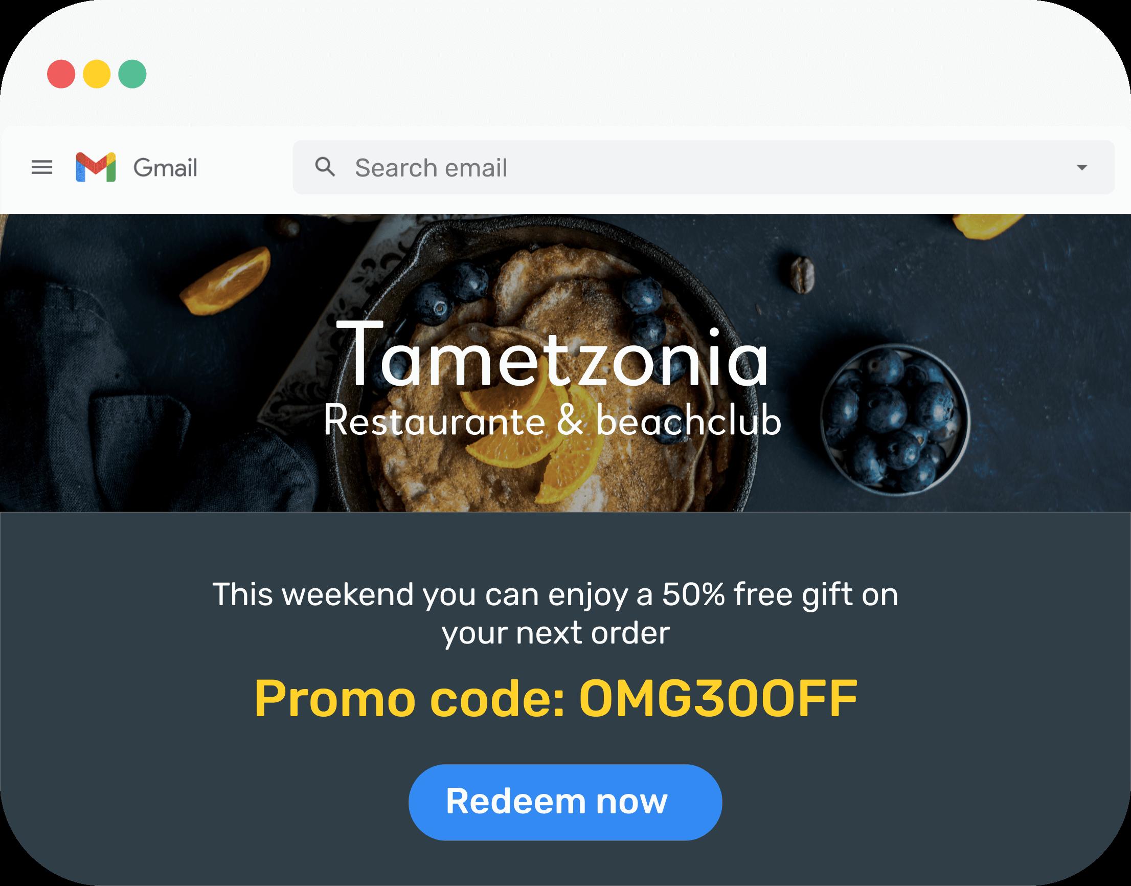 Vista de una ventana en el sitio web del restaurante que informa al cliente sobre la posibilidad de canjear un código promocional disponible.