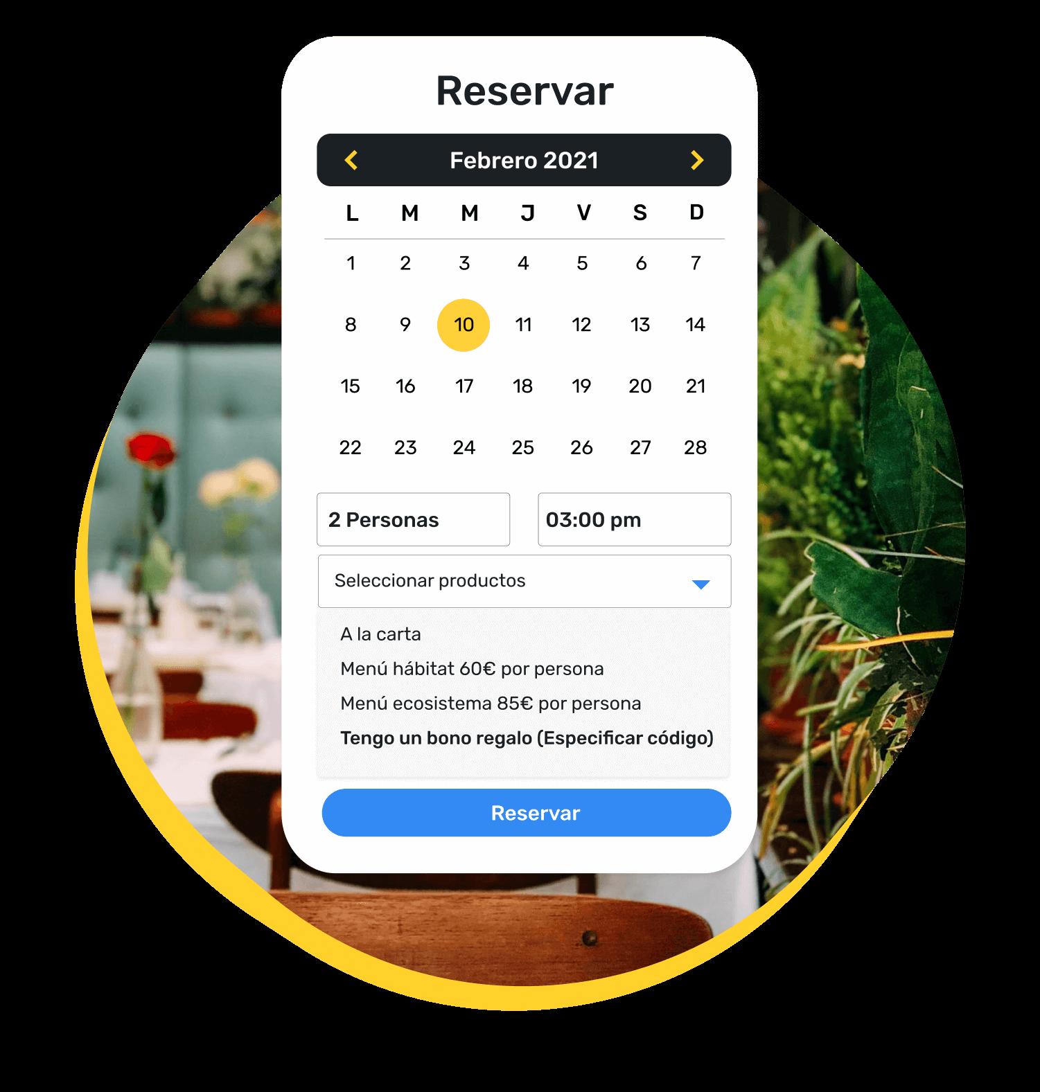 Ejemplo de motor de búsqueda propio para reservar mesa según día, hora y número de personas. En este caso, el cliente ha seleccionado el menú con antelación, en concreto un menú habitat y un menú ecosistema.