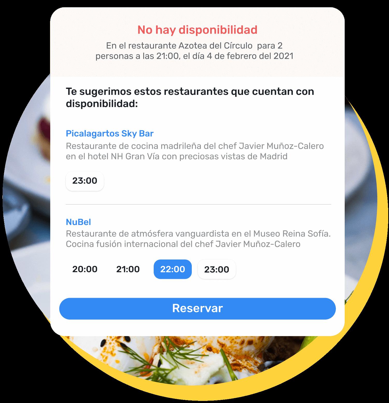 Ejemplo de la ventana de sugerencias que salta al cliente cuando no hay disponibilidad en el restaurante seleccionado para su reserva. El sistema le recomienda otros restaurantes donde sí hay disponibilidad, por ejemplo en el restaurante NuBel.