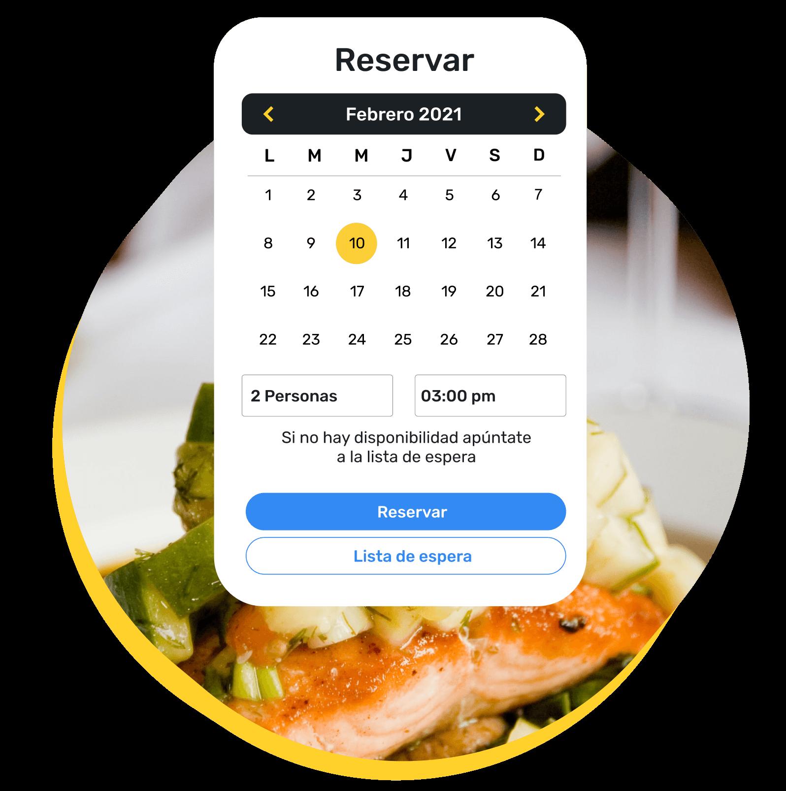 Ventana de motor de reservas propio, en el que el sistema informa al cliente de que, si no hay disponibilidad el día y hora que desea, puede apuntarse a la lista de espera.